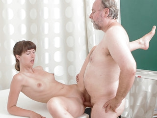 TrickyOldTeacher - Shy College girl has her sexy shaved pussy fucked by her old fat teacher