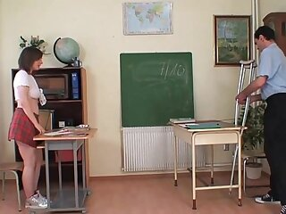 Naughty professor examines and gropes a schoolgirl