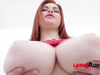Busty 18 years old Olivia anal training with two guys SZ2222
