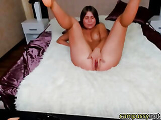 my horny stepsister fingerfucks her wet pussy on cam