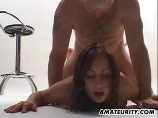 Busty amateur girlfriend sucks and fucks with facial