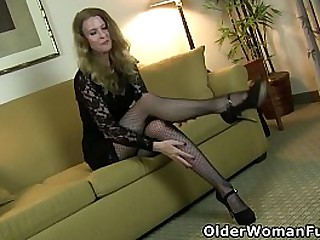 Long legged mature Lacy from the US strips off her dress and slides her fingers over her mature clit (now available in Full HD 1080P). Bonus video: American milf Sofie.