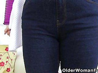 English gilf Sapphire Louise gives her inviting and wet fanny a dildo treat (brand NEW video available in Full HD 1080P). Bonus video: UK gilf Ila Jane.