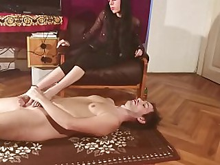 Dominant sister humiliate and footjob her brother pt1 HD